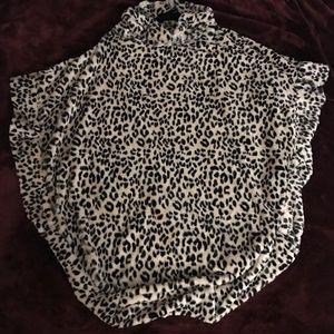 Tops - New Furry Leopard Sleeveless Festival Boho Poncho